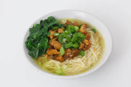 mie ayam or noodles with chicken. Indonesian food.