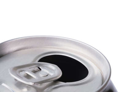 Opened aluminum can for soft drinks or beer. Macro. Isolated on white. photo