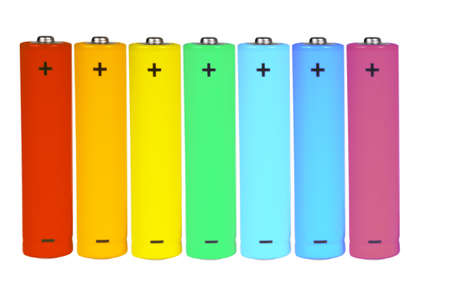 Seven standing batteries of different colors. Isolated on white.
