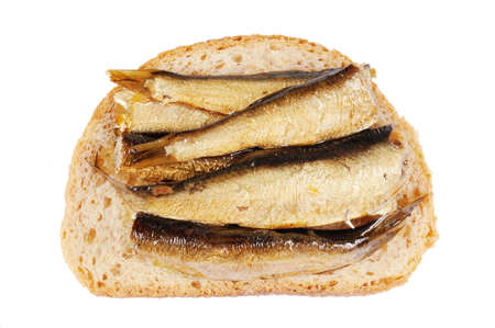 sprats: Sandwich with  sprats. Isolated  on white.Close Up