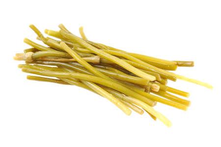 ramosum: Handful of wild garlic. Isolated on white.