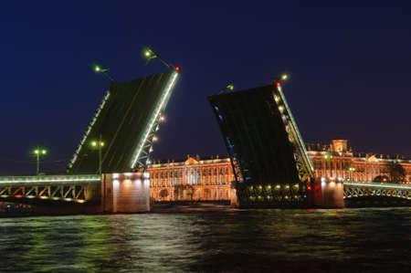 nightscene: Saint Petersburg, Russia, night view of Drawbridge Dvortsoviy. Stock Photo