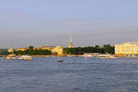 Russia, St. Petersburg, Neva river, the Admiralty, view on pleasure boats and sightseeing