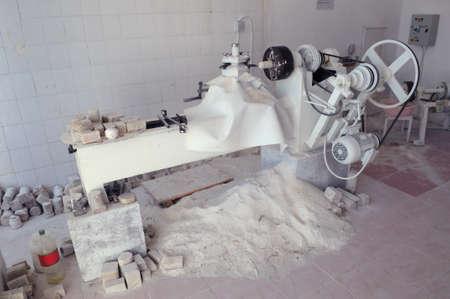 manufactory: The machine for processing onyx. Turkey, Pamukkale