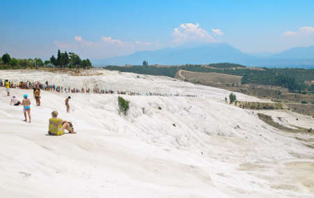 Pamukkale. Turkey. Eighth wonder of the world. Limestone slopes of the mountain.