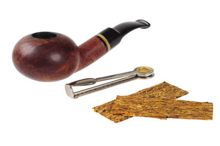 Smoking pipe, tobacco and accessories. Isolated on white Stock Photo