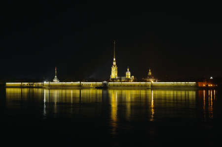 Saint Petersburg, Russia, night view of Peter and Paul Fortress photo