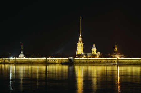 Saint Petersburg, Russia, night view of Peter and Paul Fortress