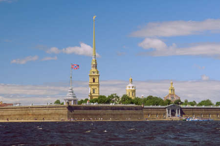 Russia, Saint-Petersburg, Peter and Paul Fortress.against blue sky photo