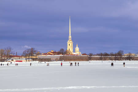 Peter and Paul Fortress in St. Petersburg. Winter photo. Stock Photo