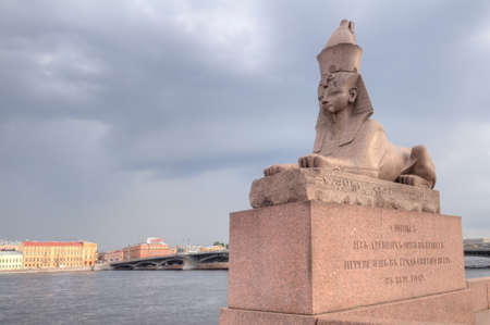 Russia, Saint-Petersburg, the famous granite sphinxes on Neva