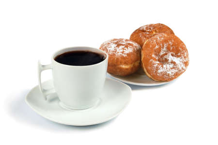 doughnut: A cup of coffee and saucer with donuts on white Stock Photo