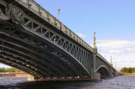 Russia, Saint-Petersburg, Troitsky Bridge, view from the river steamer under the bridge. Stock Photo