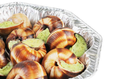 gastro: Bourgogne snails with garlic butter. French cuisine. Stock Photo