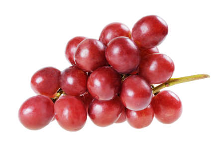 Bunch of red grapes isolated on white
