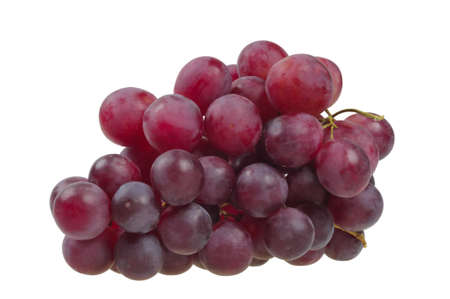 grapes on vine: Bunch of red grapes isolated on white