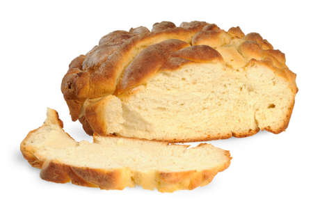 breadloaf: Homemade bread - a loaf. Isolated on white. Stock Photo