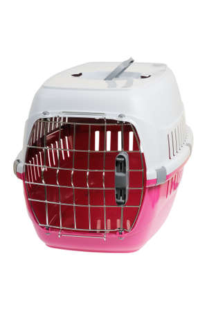 Portable pet carrier. Isolated on white background.