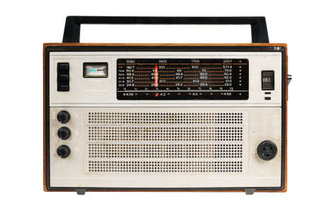 Oldfashioned retro radio 80th. Isolated on white background. Stock Photo