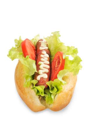 Tasty and delicious hotdog. Isolated on white. photo