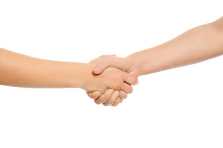 Two woman shaking hands  Isolated on white background