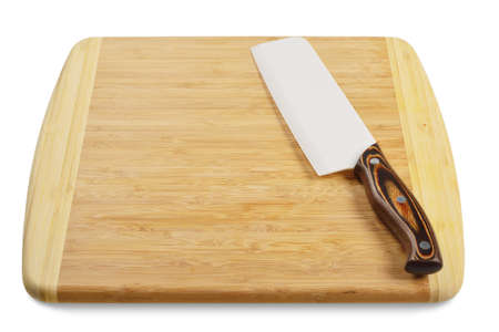 Wooden cutting board with a kitchen knife  Isolated on white