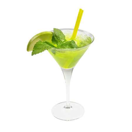 Green cocktail with ice and mint  Isolated on white