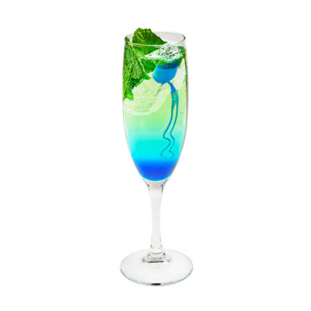 multi layered: Layered cocktail blue and green  Isolated on white
