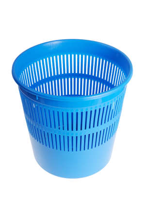 Blue wastebasket or trash can  Isolated on white background