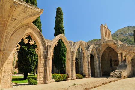 abbey: Bellapais Abbey Monastery in Kyrenia  Turkish side of the island of Cyprus  Stock Photo
