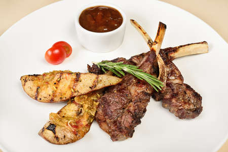 Grilled Lamb chops on the bone with baked potatoes