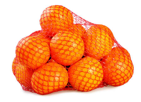 Several mandarins in the grid. Isolated on white background. Stock Photo