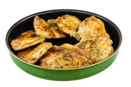 Baked pork in a frying pan Stock Photo