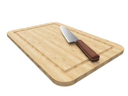 Cooks knife on a wooden board.