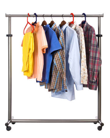 accurately: Seven multi-coloured shirts hang on a crossbeam