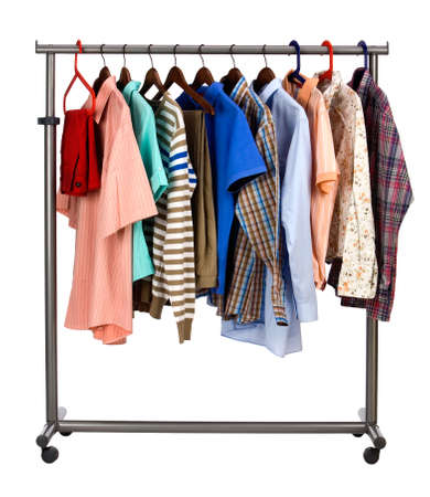 accurately: The multi-coloured  mens clothes hangs on a hanger on white  background