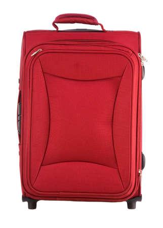 castors: Red suitcase on castors close up on a white background