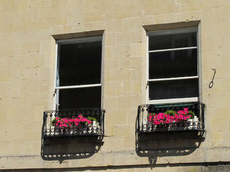 Flowers at a window in Bath. photo