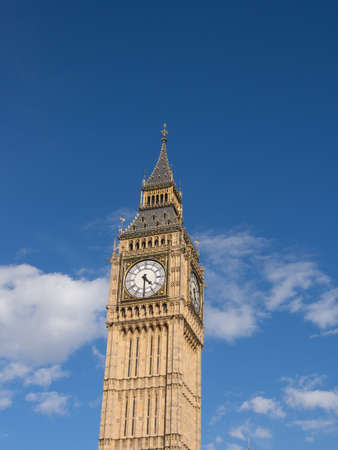 bigben: Bigben London with blue sky and clouds
