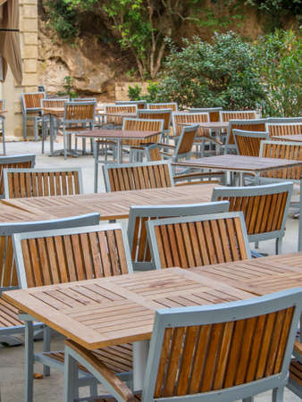 Table and chairs in a restaurunt in France , nobody Stock Photo - 16410543