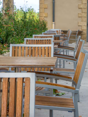 Table and chairs in a restaurunt in France , nobody Stock Photo - 16410542