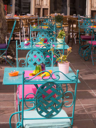 Colorful outdoor table on a road side in France  Stock Photo - 16482362