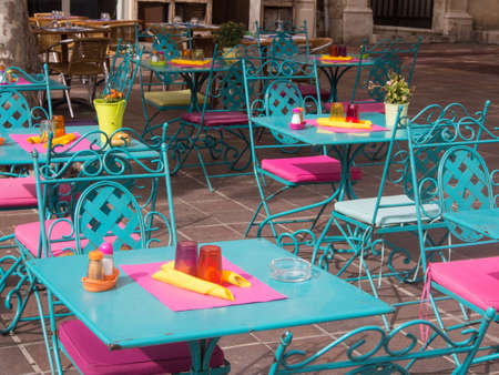Colorful outdoor table on a road side in France