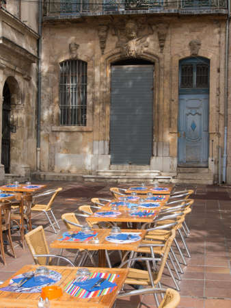 Outdoor table on a road side in France  Stock Photo - 16482328