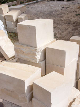Stone blocks ready to be coolected in a work site