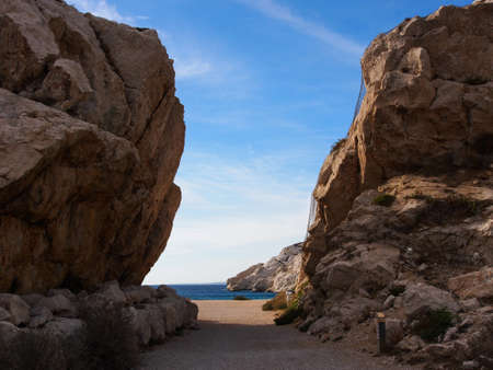 chateau d if: Rocky arch a way to Mediterranean sea  in Chateau d Stock Photo