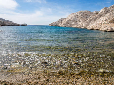 chateau d if: Mediterranean sea with rocky background  in Chateau d Stock Photo