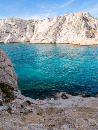 Mediterranean sea with rocky background in Chateau d Stock Photo