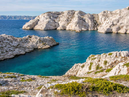 Mediterranean sea with rocky background and small plants on the foreground in Chateau d Stock Photo - 16482335