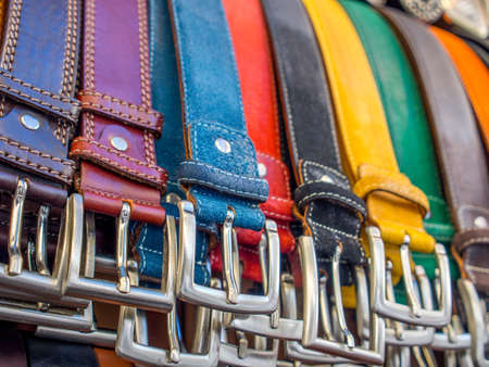 Belts in a market in Rome in summer.